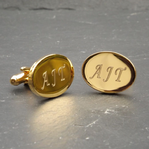 Engraved Gold Plated Oval Cufflinks Personalised Best Man Usher Gift